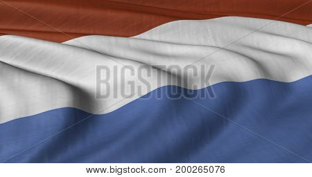 3D illustration of Luxemburg flag fluttering in light breeze