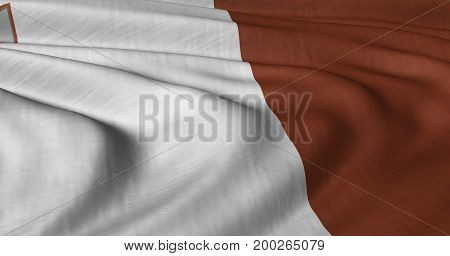 3D illustration of Maltese flag fluttering in light breeze