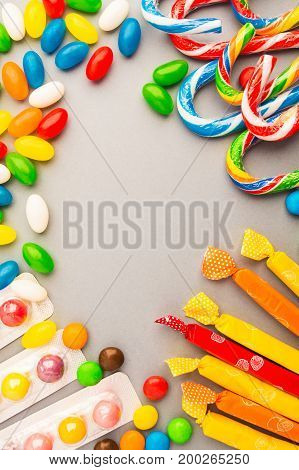 Candies On Grey Background