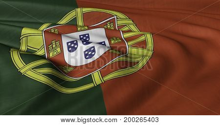 3D illustration of Portuguese flag fluttering in light wind.