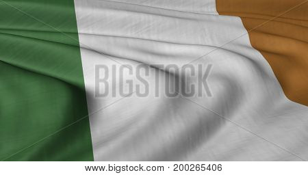 3D illustration of Republic of Ireland flag fluttering in light wind.