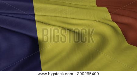 3D illustration of Romanian flag fluttering in light wind.