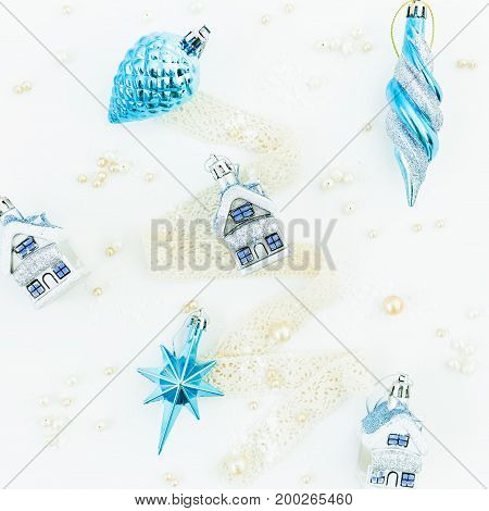 Christmas still life on white background. Flat lay. Top view