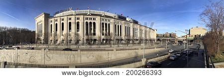 BRONX NEW YORK USA -APRIL 9: Panoramic view of Yankee Stadium during the day. Taken April 9 2017 in New York.