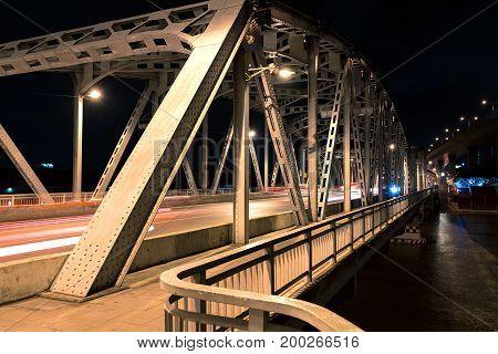 Night shot at Krungthep Bridge a bascule bridge (Drawbridge) in Bangkok Thailand.