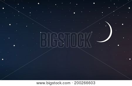 Night sky with a crescent moon and stars, vector art illustration.
