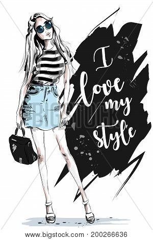 Fashion woman with slogan on background. Stylish beautiful girl in fashion clothes. Sketch. Vector illustration.