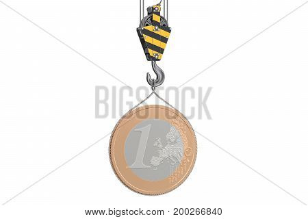 Euro coin lifting on crane hook 3D rendering