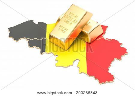 Foreign-exchange reserves of Belgium concept 3D rendering isolated on white background