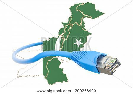 Internet connection in Pakistan concept. 3D rendering isolated on white background