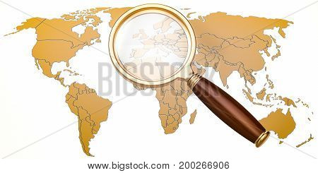 Map of Earth under magnifying glass analysis concept 3D rendering isolated on white background