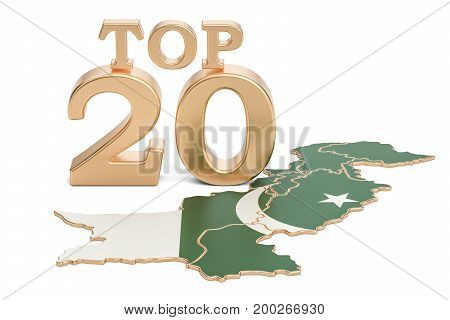 Pakistani Top 20 concept 3D rendering isolated on white background