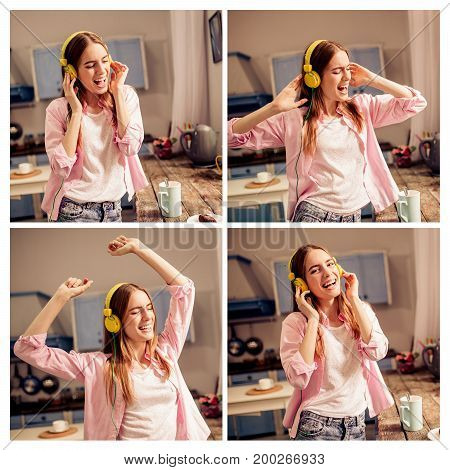 Collage of young girl listening to music, dancing. Funny female enjoying favorite song, dancing in the kitchen.