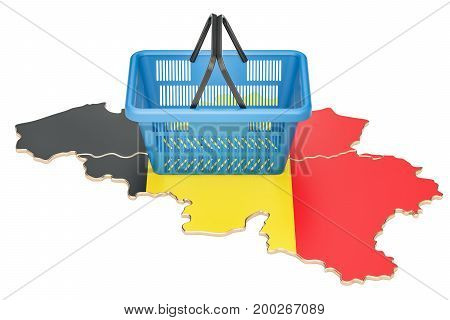 Shopping basket on Belgium map market basket or purchasing power. 3D rendering