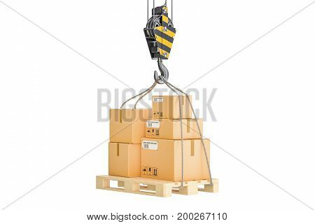 Wooden pallet with parcels hanging on the crane hook. Shipping and logistics concept 3D rendering isolated on white background