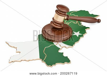 Wooden Gavel on map of Pakistan 3D rendering isolated on white background