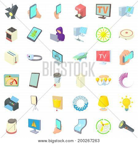 Electricity screen icons set. Cartoon style of 36 electricity screen vector icons for web isolated on white background