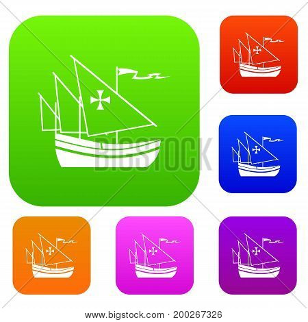 Ship of Columbus set icon in different colors isolated vector illustration. Premium collection