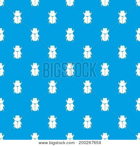 Chafer beetle pattern repeat seamless in blue color for any design. Vector geometric illustration