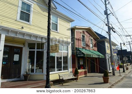 RHODE ISLAND - MAR. 27, 2016: Historical Building on Main Street in village center of Wakefield, South Kingstown, Rhode Island, USA.