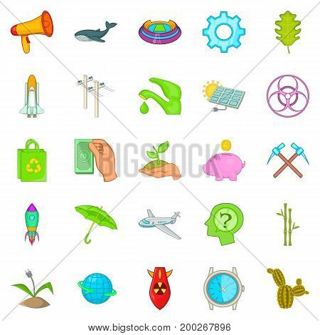 Eco care icons set. Cartoon set of 25 eco care vector icons for web isolated on white background