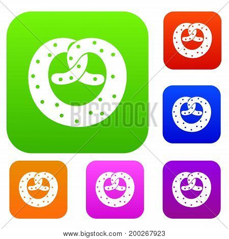 Pretzels set icon in different colors isolated vector illustration. Premium collection