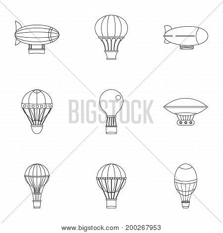 Hot air balloon icon set. Outline style set of 9 hot air balloon vector icons for web isolated on white background