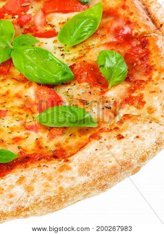 Slice of Freshly Baked Homemade Margherita Pizza with Tomatoes Cheese and Basil Leafs isolated on White background