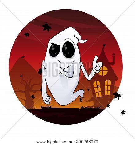 Fun smiling cartoon spooky in the night. Fun Halloween vector illustration