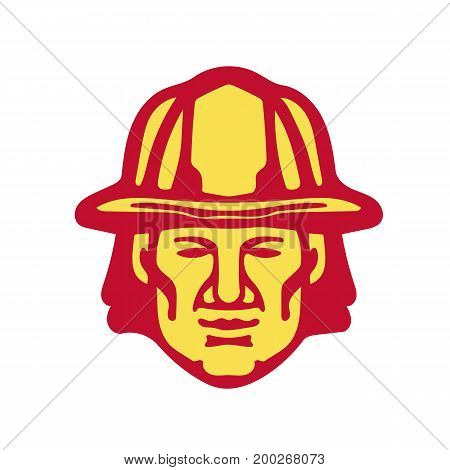 Illustration of a fireman fire fighter emergency worker head wearing hardhat viewed from front set on isolated white background done in retro style.
