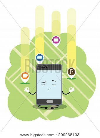 Updaiting city map illustration. Fun cartoon phone sit as if he meditate. Vector