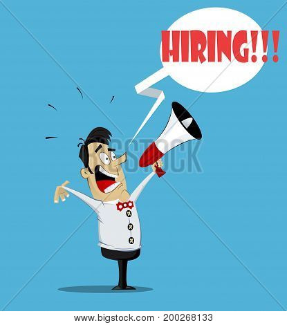 Guy with loudspeaker. We are hiring text bubble. Vector flat design illustration.