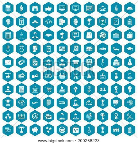 100 business career icons set in sapphirine hexagon isolated vector illustration