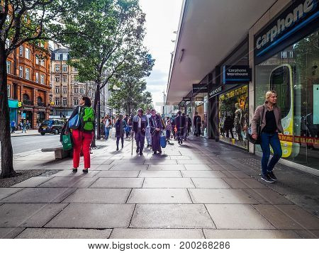 People In Oxford Street In London (hdr)