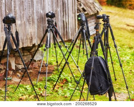 Lot Of Tripods Without Cameras Are Waiting For The Shooting