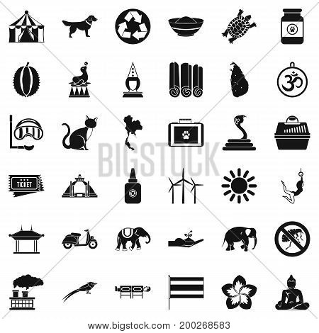Clever elephant icons set. Simple style of 36 clever elephant vector icons for web isolated on white background