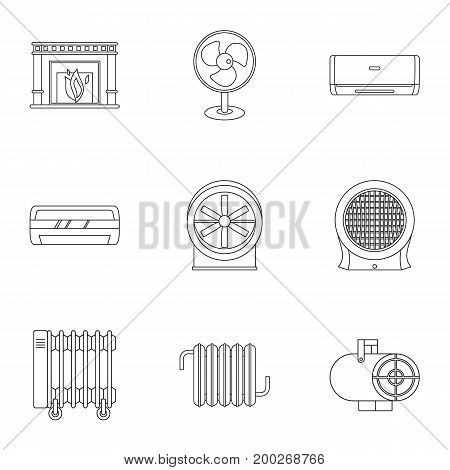 House heater icon set. Outline style set of 9 house heater vector icons for web isolated on white background