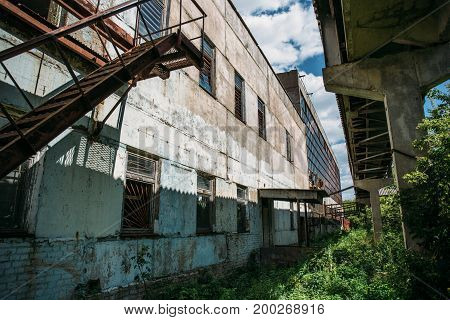 Exterior of a large abandoned factory in the city Efremov. Russia