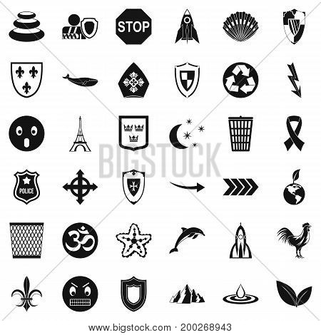 Shield emblem icons set. Simple style of 36 shield emblem vector icons for web isolated on white background