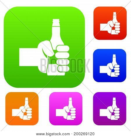 Hand holding bottle of beer set icon in different colors isolated vector illustration. Premium collection