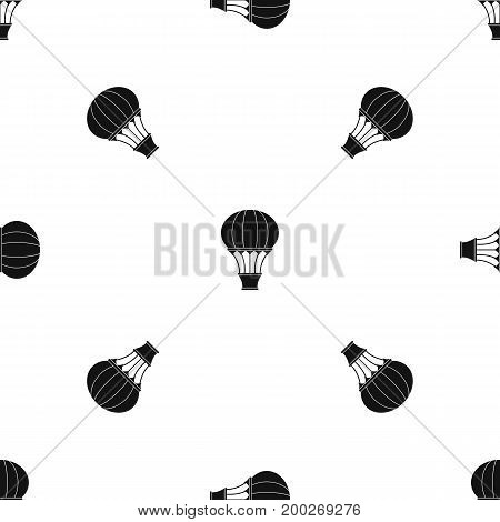 Hot air balloon with basket pattern repeat seamless in black color for any design. Vector geometric illustration