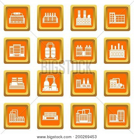 Industrial building factory icons set in orange color isolated vector illustration for web and any design
