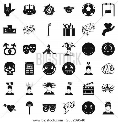 Face emotion icons set. Simple style of 36 face emotion vector icons for web isolated on white background