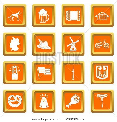 Germany icons set in orange color isolated vector illustration for web and any design