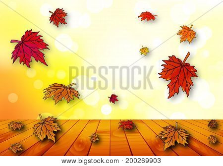 Autumn leaves falling on a wooden table, vector art illustration.