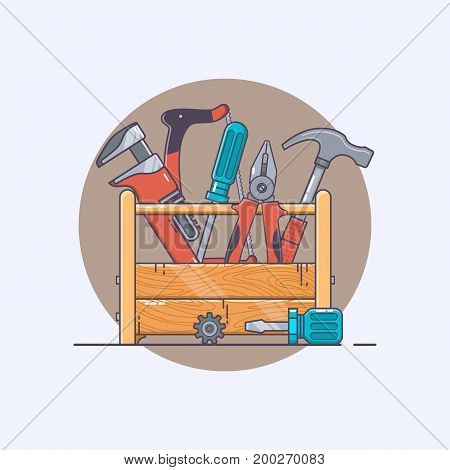 Repair Tools. Box with tools. Pliers and hammer, screwdriver and saw. Line art collection of stock vector clipart.