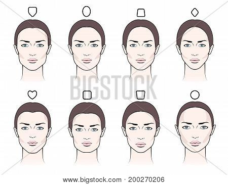 Different types of proportions of female faces with blush contouring makeup