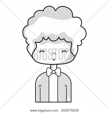 line nice boy with elegant suit and hairstyle design vector illusration