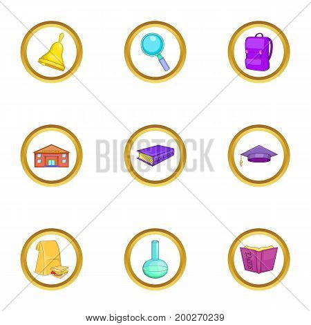 Education icons set. Cartoon illustration of 9 education vector icons for web design