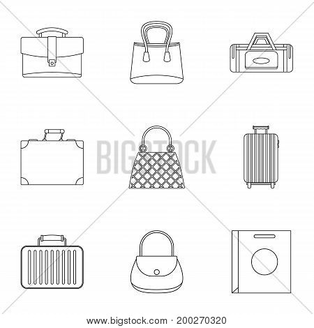Various types of bags icon set. Outline style set of 9 various types of bags vector icons for web isolated on white background